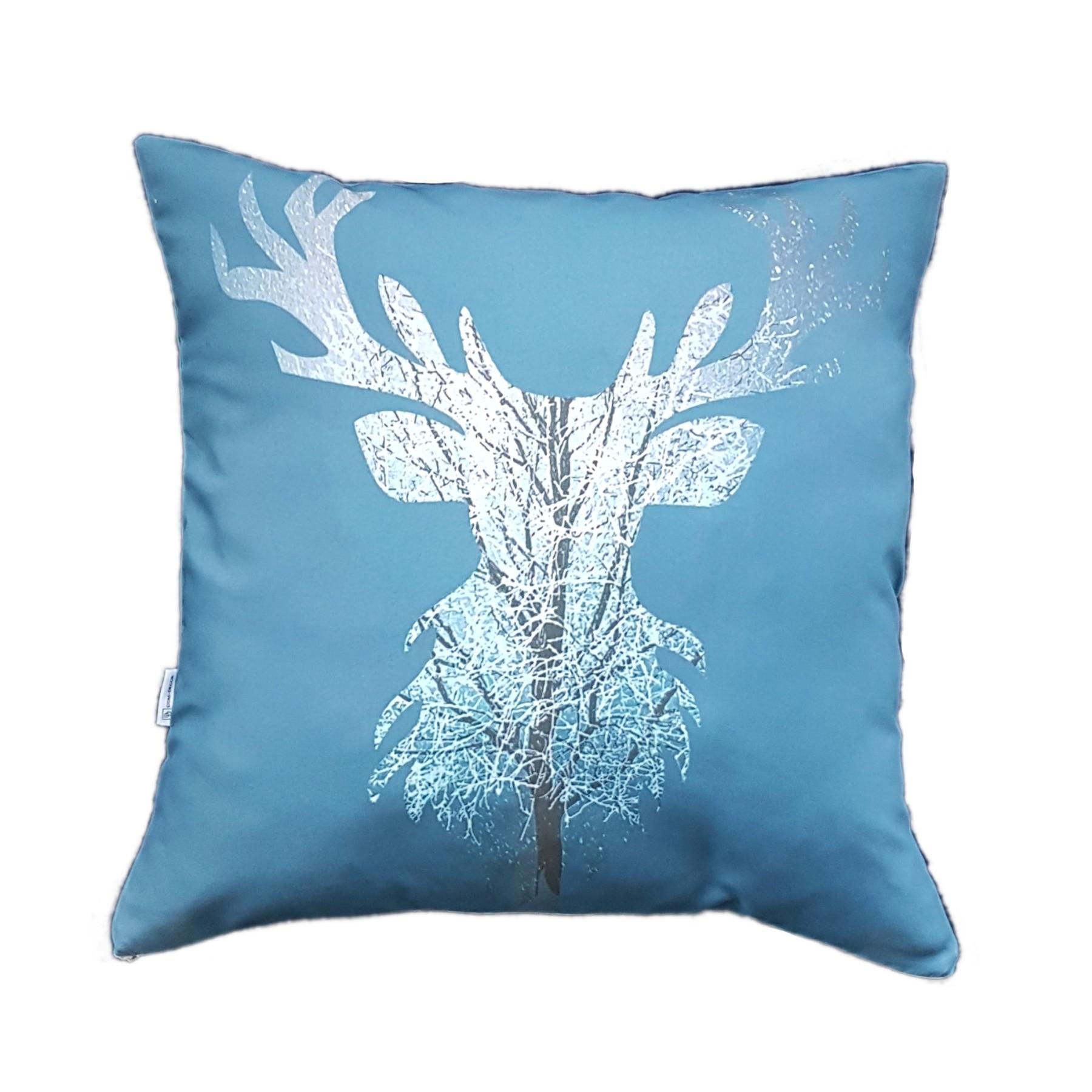 Poszewka renifer – niebieska 50×50