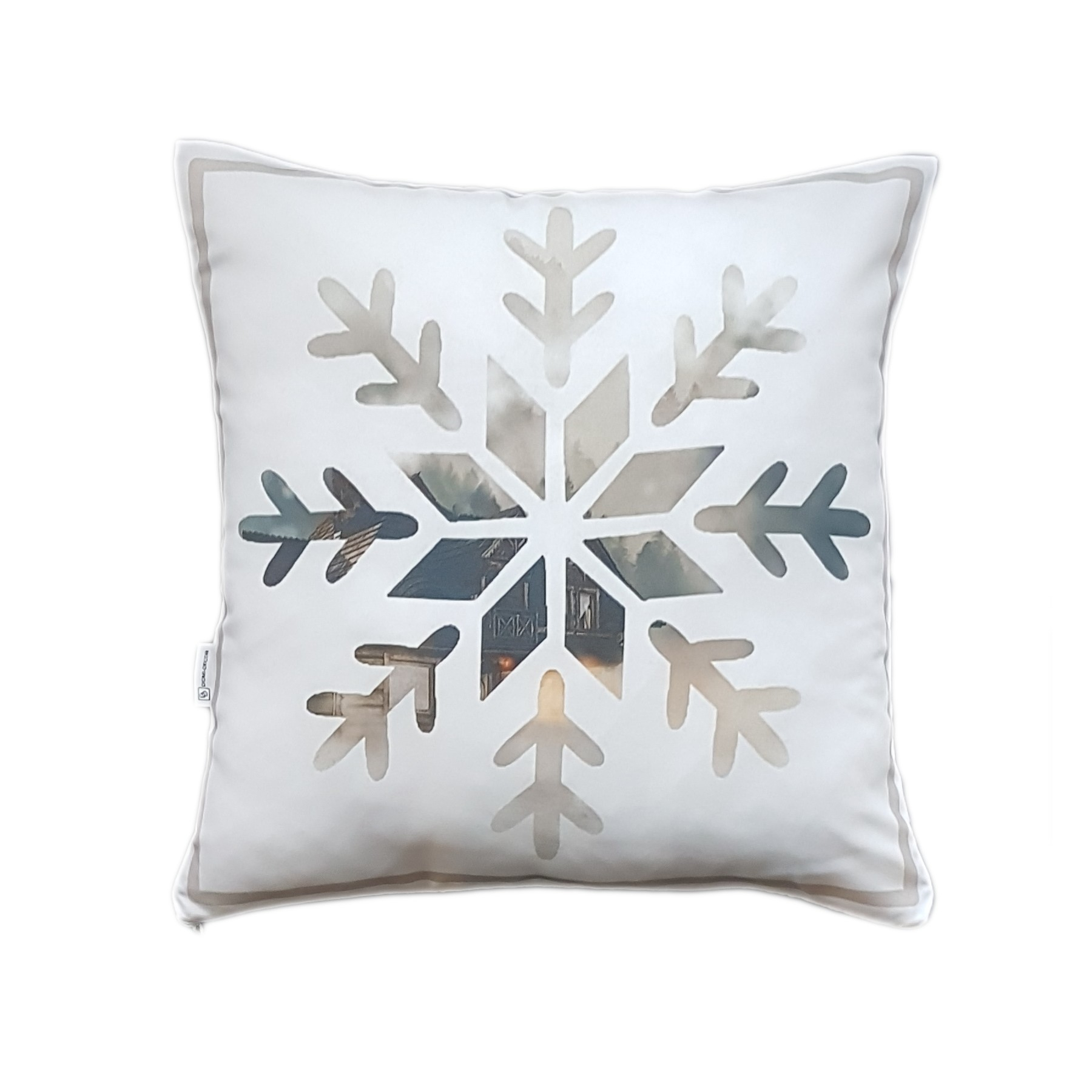 Poszewka śnieżynka – beżowa 40×40