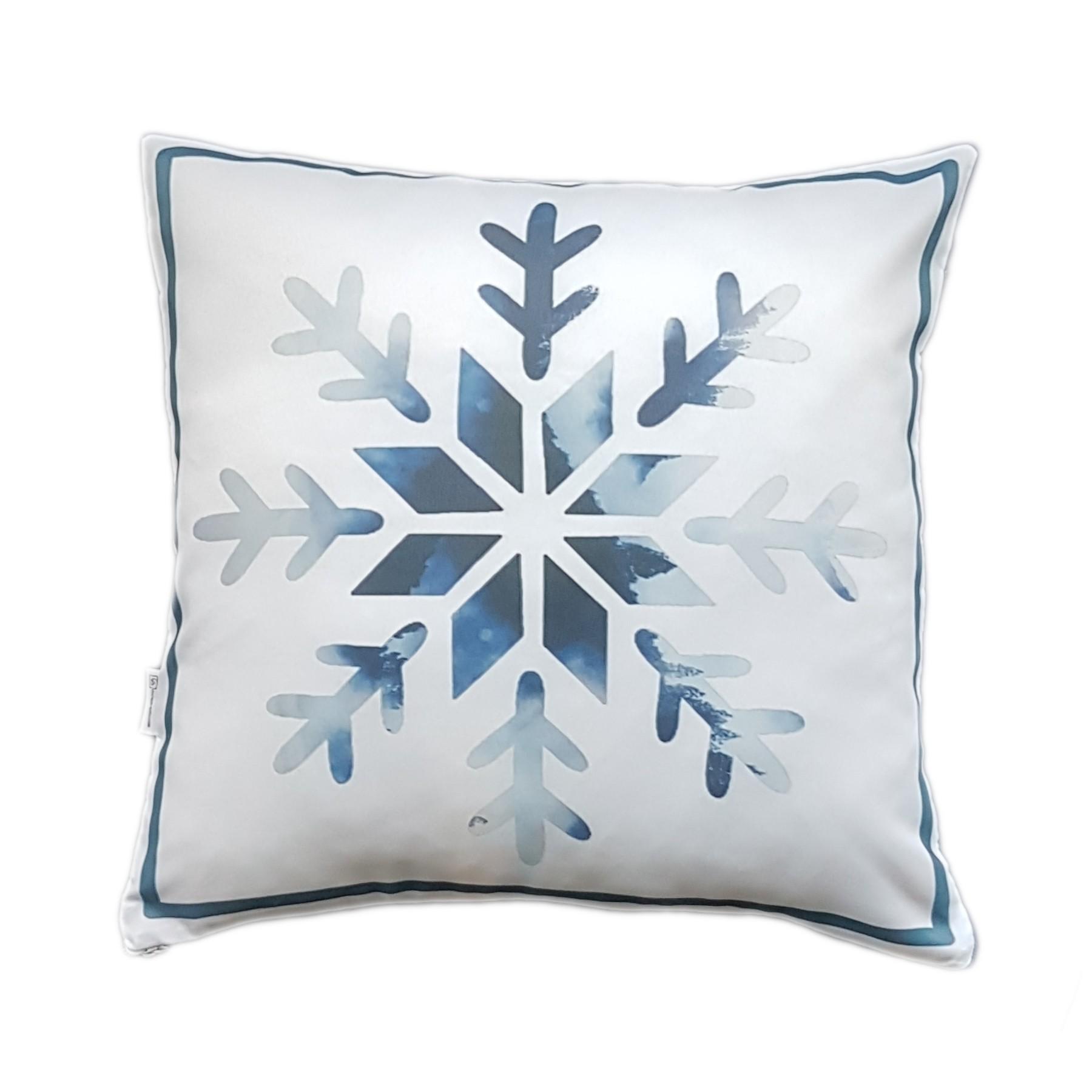 Poszewka śnieżynka – niebieska 40×40